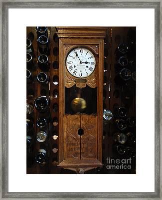 Clock Wine Rack Framed Print by Valia Bradshaw