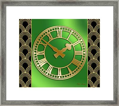 Framed Print featuring the digital art Clock With Border by Chuck Staley