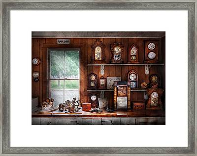 Clocksmith - In The Clock Repair Shop Framed Print by Mike Savad