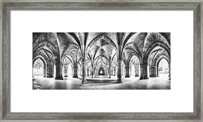 Cloister Black And White Panorama Framed Print by Jane Rix