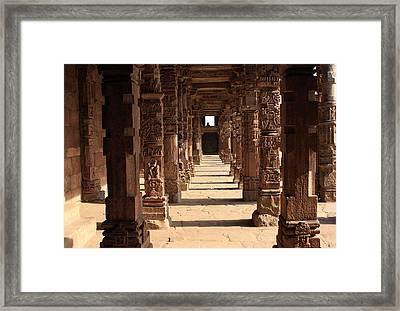 Cloister Columns Qutb Minar Complex Framed Print by Aidan Moran