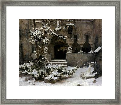 Cloister In The Snow Framed Print