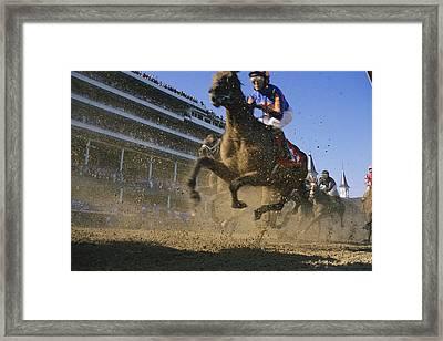Close Action Shot Of Horses Racing Framed Print by Melissa Farlow