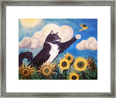 Framed Print featuring the painting Close Call by Laura Aceto