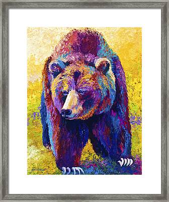 Close Encounter - Grizzly Bear Framed Print by Marion Rose