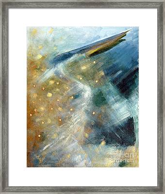 Close Encounter With A Great Blue Framed Print by Suzanne McKee