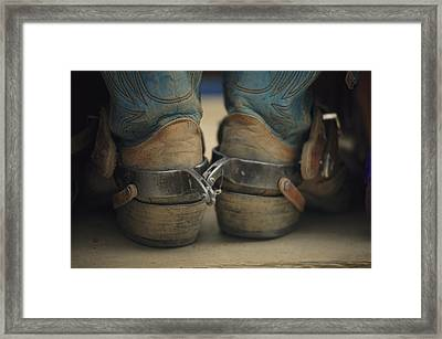 Close Up Detail Of Cowboy Boots Framed Print by Bobby Model