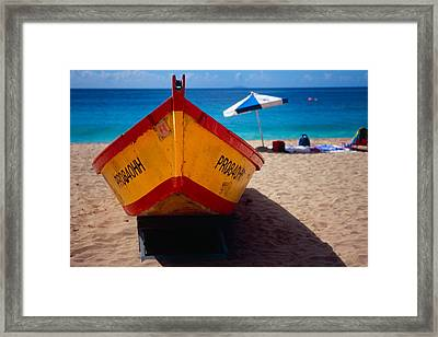 Close Up Frontal View Of A Colorful Boat On A Caribbean Beach Framed Print by George Oze