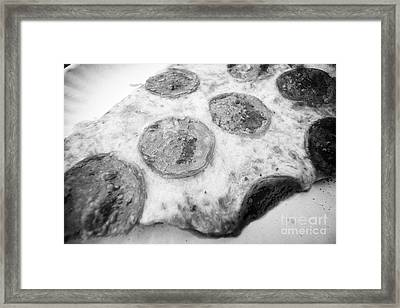 close up of a large single slice of pepperoni pizza USA Framed Print