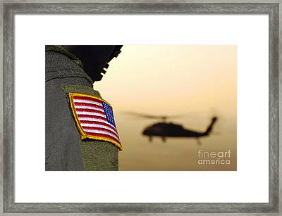 Close-up Of A U.s. Flag Patch Framed Print by Stocktrek Images