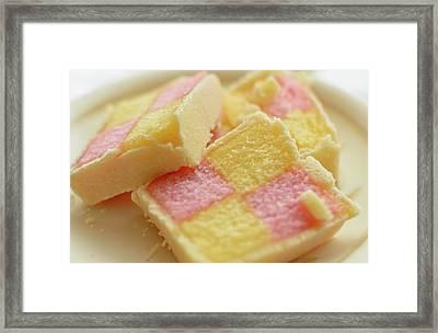 Close Up Of Battenberg Cake E Framed Print