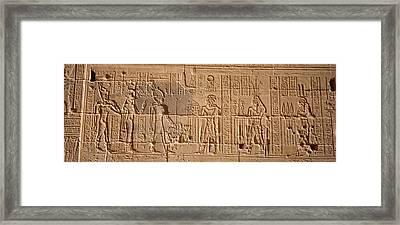 Close-up Of Carvings On A Wall, Temple Framed Print by Panoramic Images
