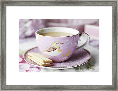 Close Up Of Cup Of Tea And Cookie Framed Print