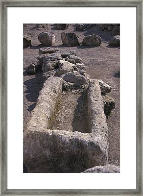 Close Up Of Excavations In The Ancient Framed Print