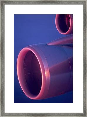 Close-up Of Jet Engine, In Mid Air Framed Print by Keenpress