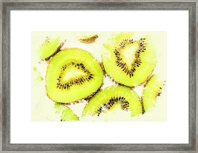 Close Up Of Kiwi Slices Framed Print