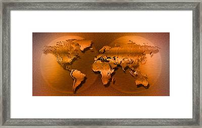Close-up Of Map Of World Framed Print by Panoramic Images