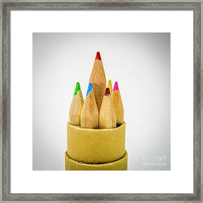 Close-up Of Multi Colored Pencils Framed Print by Bernard Jaubert