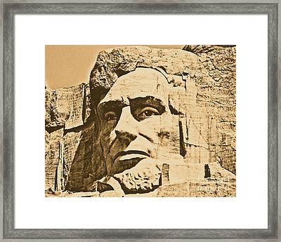 Close Up Of President Abraham Lincoln On Mount Rushmore South Dakota Rustic Digital Art Framed Print by Shawn O'Brien