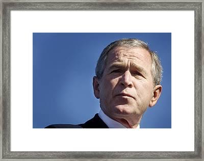 Close Up Of President George W. Bush Framed Print