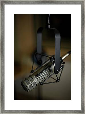 Close-up Of Recording Studio Microphone Framed Print by Christopher Kontoes