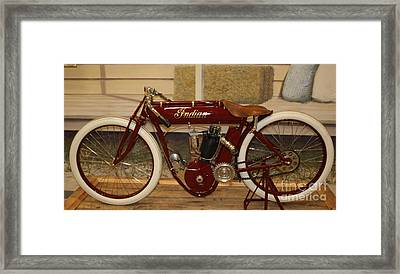 close up of red Indian motorcycle   # Framed Print by Rob Luzier