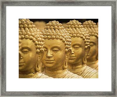 Framed Print featuring the photograph Close-up On Head Buddha Statue, Soft Focus. by Tosporn Preede