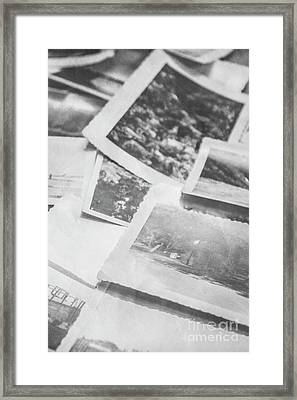 Close Up On Old Black And White Photographs Framed Print