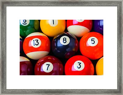 Close Up Poolballs Framed Print by Garry Gay