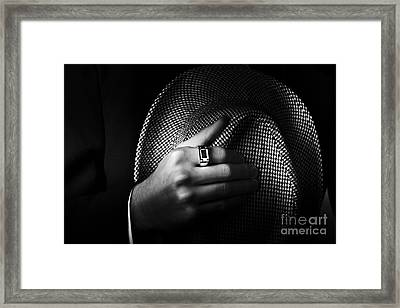 Close-up Shot Of A Male Ring Hand Holding Hat Framed Print
