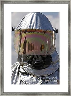 Close-up View Of A Firefighter Framed Print by Stocktrek Images