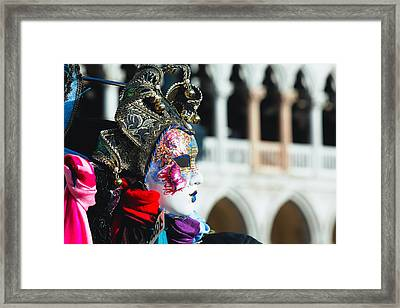 Close Up View Of A Venetian Mask Framed Print by George Oze