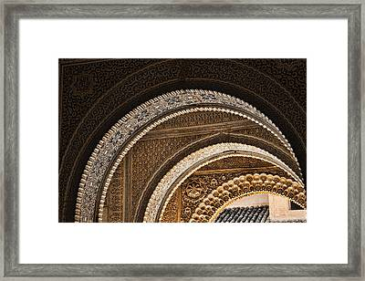Close-up View Of Moorish Arches In The Alhambra Palace In Granad Framed Print by David Smith
