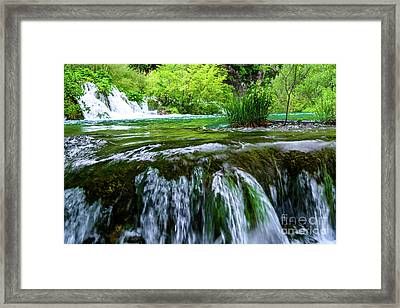 Close Up Waterfalls - Plitvice Lakes National Park, Croatia Framed Print