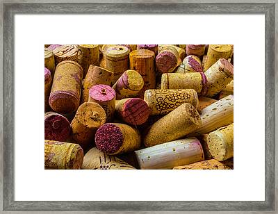Close Up Wine Corks Framed Print by Garry Gay