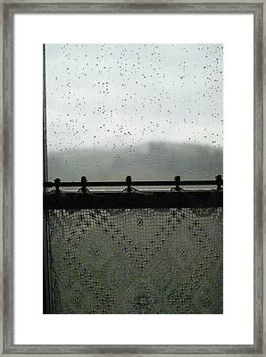 Close View Of A Rain Speckled Window Framed Print by Todd Gipstein