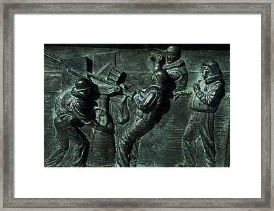 Close View Of Bronze Relief Sculpture Framed Print by Todd Gipstein