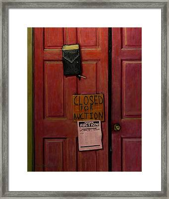 Closed For Auction Framed Print by Doug Strickland