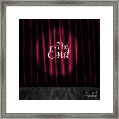 Closed Theatre Stage Curtains At Performance End Framed Print