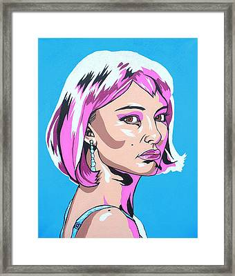 Framed Print featuring the mixed media Closer In Blue by Sarah Crumpler