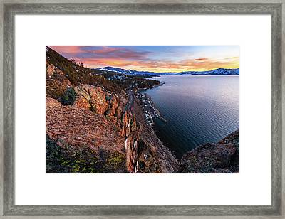 Closer To The Edge Of Cave Rock Framed Print by Mike Herron