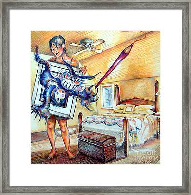Framed Print featuring the drawing Closet Artist by Linda Shackelford