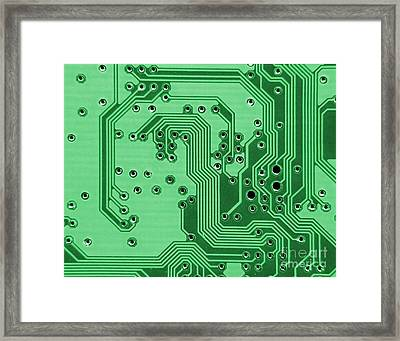 Closeup Of A Motherboard Framed Print by Yali Shi