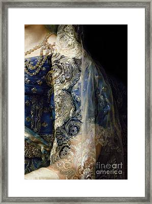 Closeup Of Antique Spanish Lace Mantilla, Detailed Dress Framed Print by Tina Lavoie