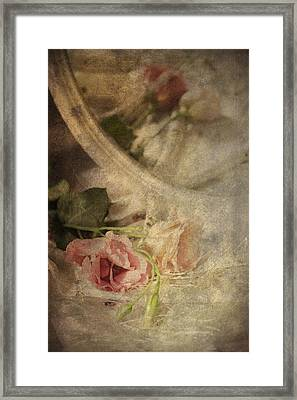 Closeup Of Flowers In Mirror Reflection Framed Print