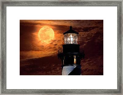 Closeup Of Full Moon Rising Over St Augustine Lighthouse Framed Print