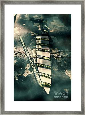 Closeup Of Knife Wrapped With Do Not Cross Tape On Floor Framed Print by Jorgo Photography - Wall Art Gallery