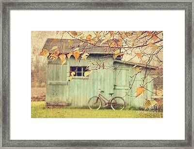 Closeup Of Leaves With Old Barn In Background Framed Print