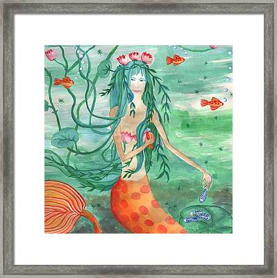Closeup Of Lily Pond Mermaid With Goldfish Snack Framed Print by Sushila Burgess