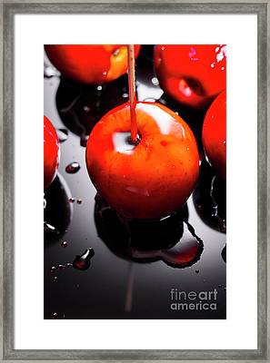 Closeup Of Red Candy Apple On Stick Framed Print